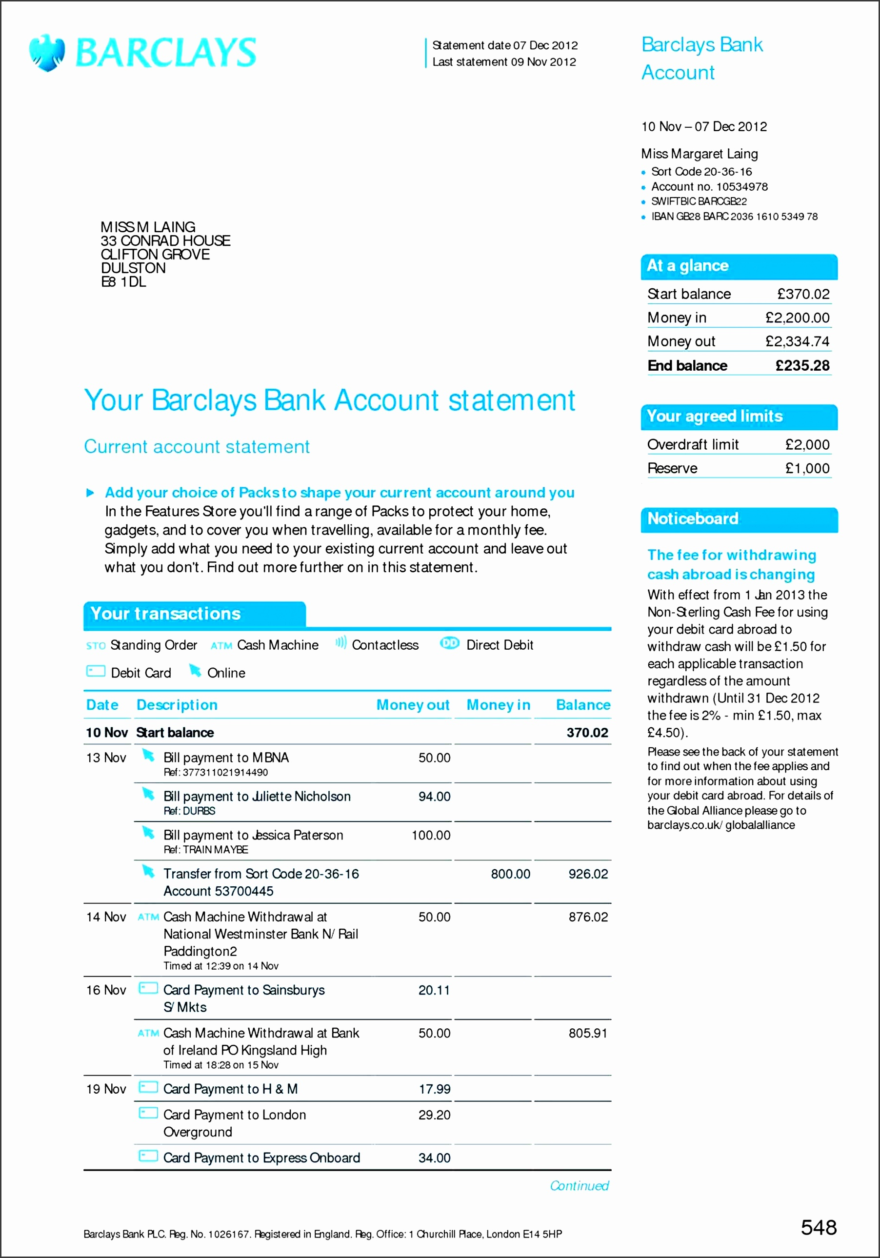8 free bank statement online sampletemplatess for Free bank statement template