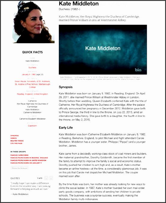 online biography sample