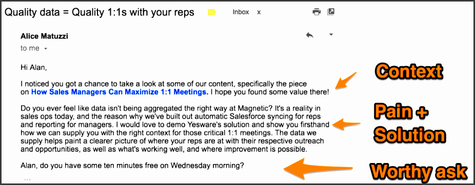 the best follow up email template for an inbound lead