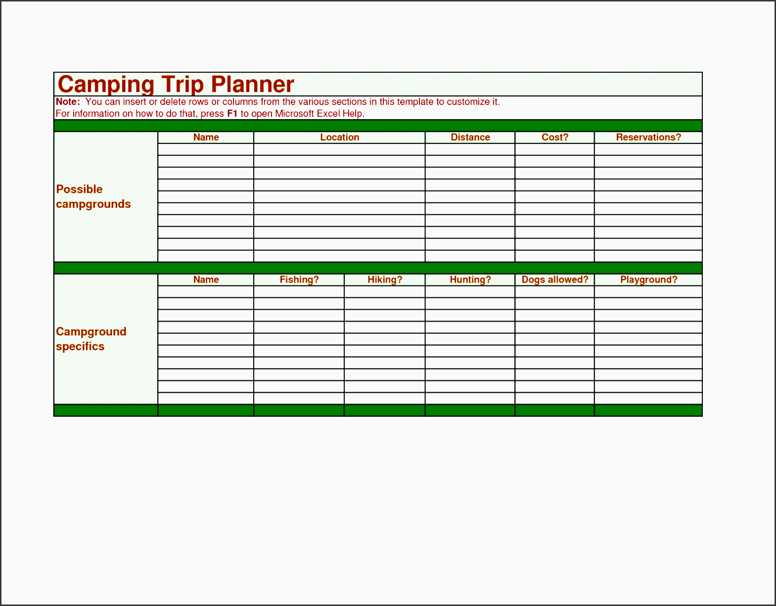 images camping trip planner as excel camping trip planner