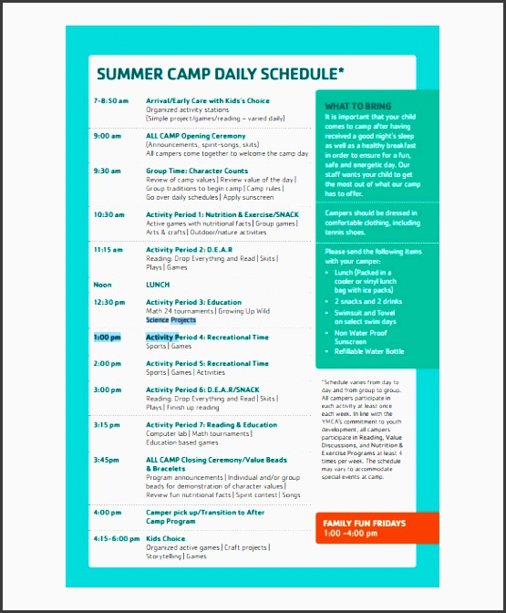 family fun summer camp daily schedule template