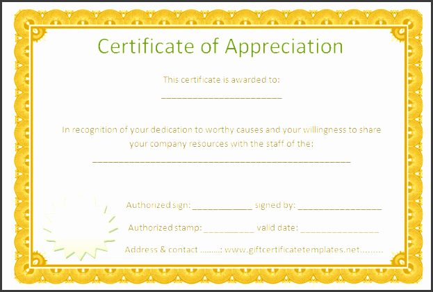 preview of golden border certificate of appreciation