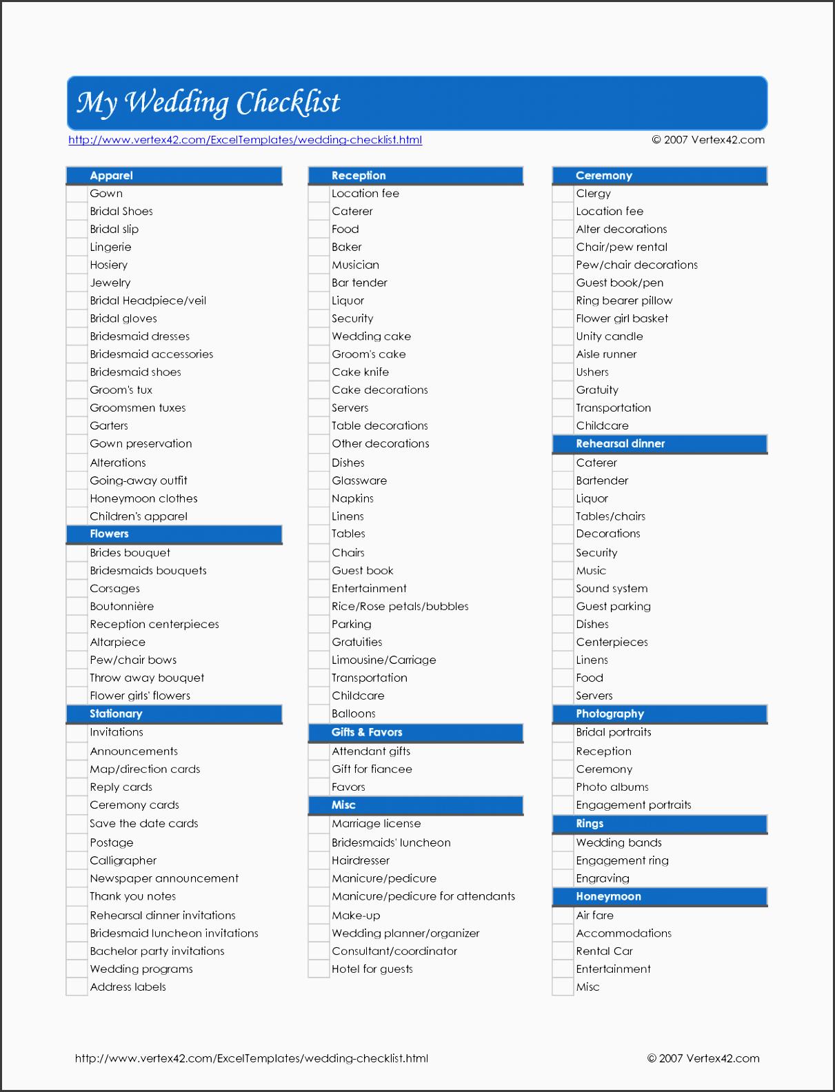free wedding checklist template excel