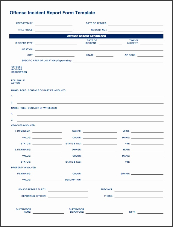 ic offense incident report form
