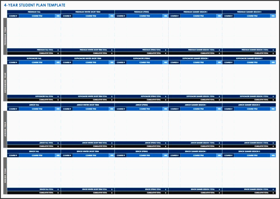 this four year template was designed with college students in mind and provides sections for each year of school plan out which classes you intend to take