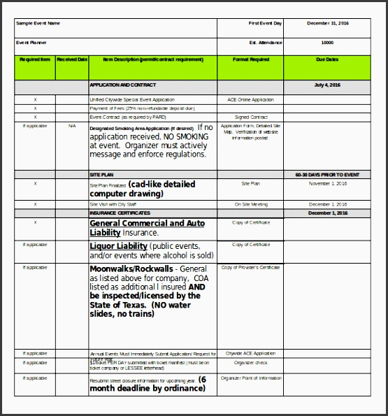 an example template for event planner