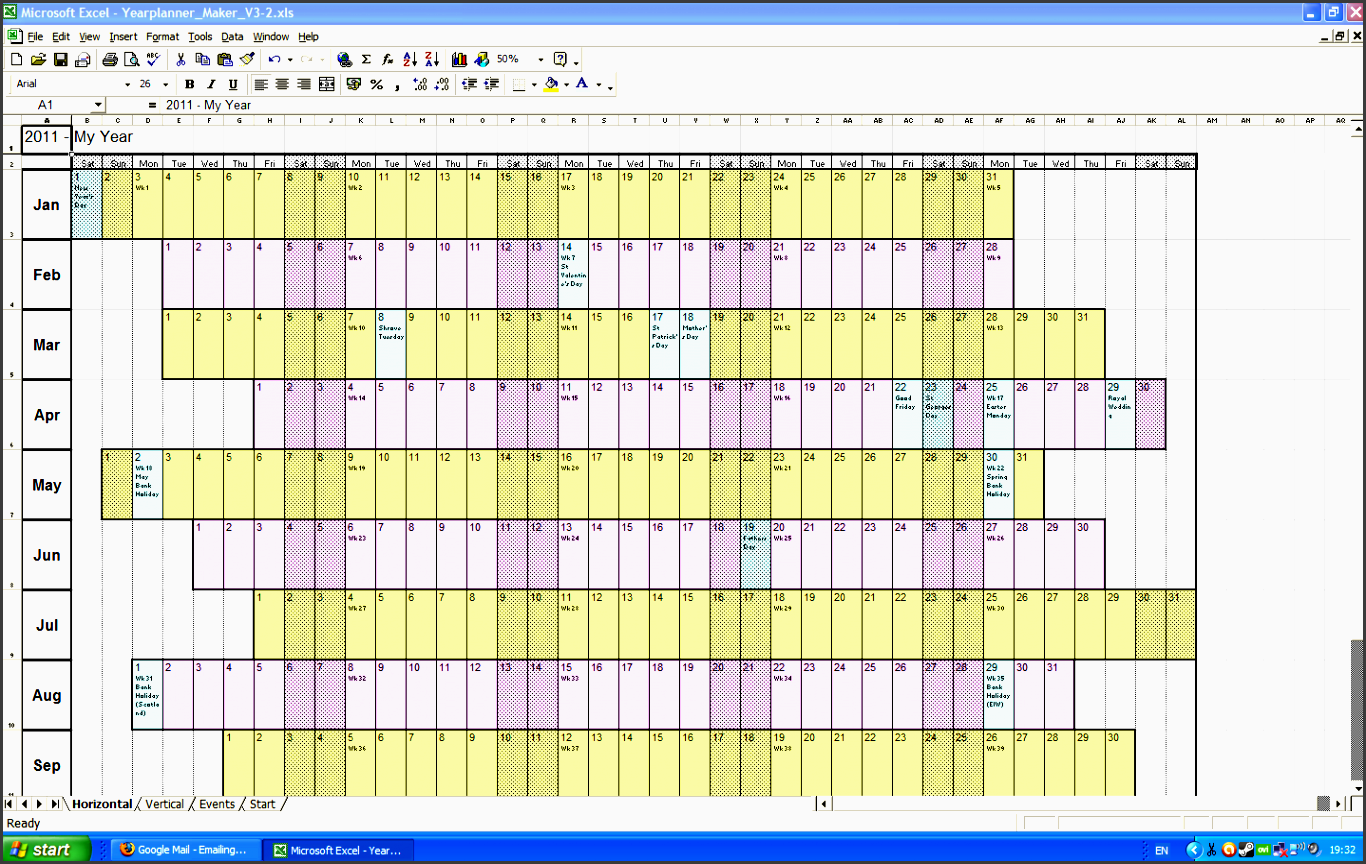 excel year planner