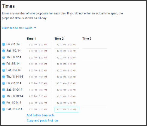 free schedule maker on doodle step 3 of making a schedule