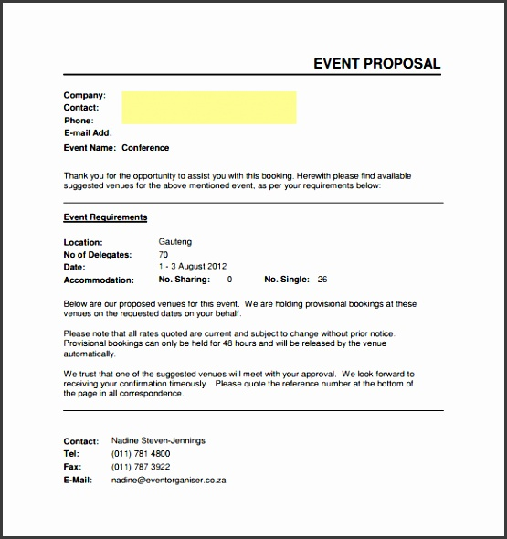 Example Of Event Proposal Template  Event Proposal Template Word