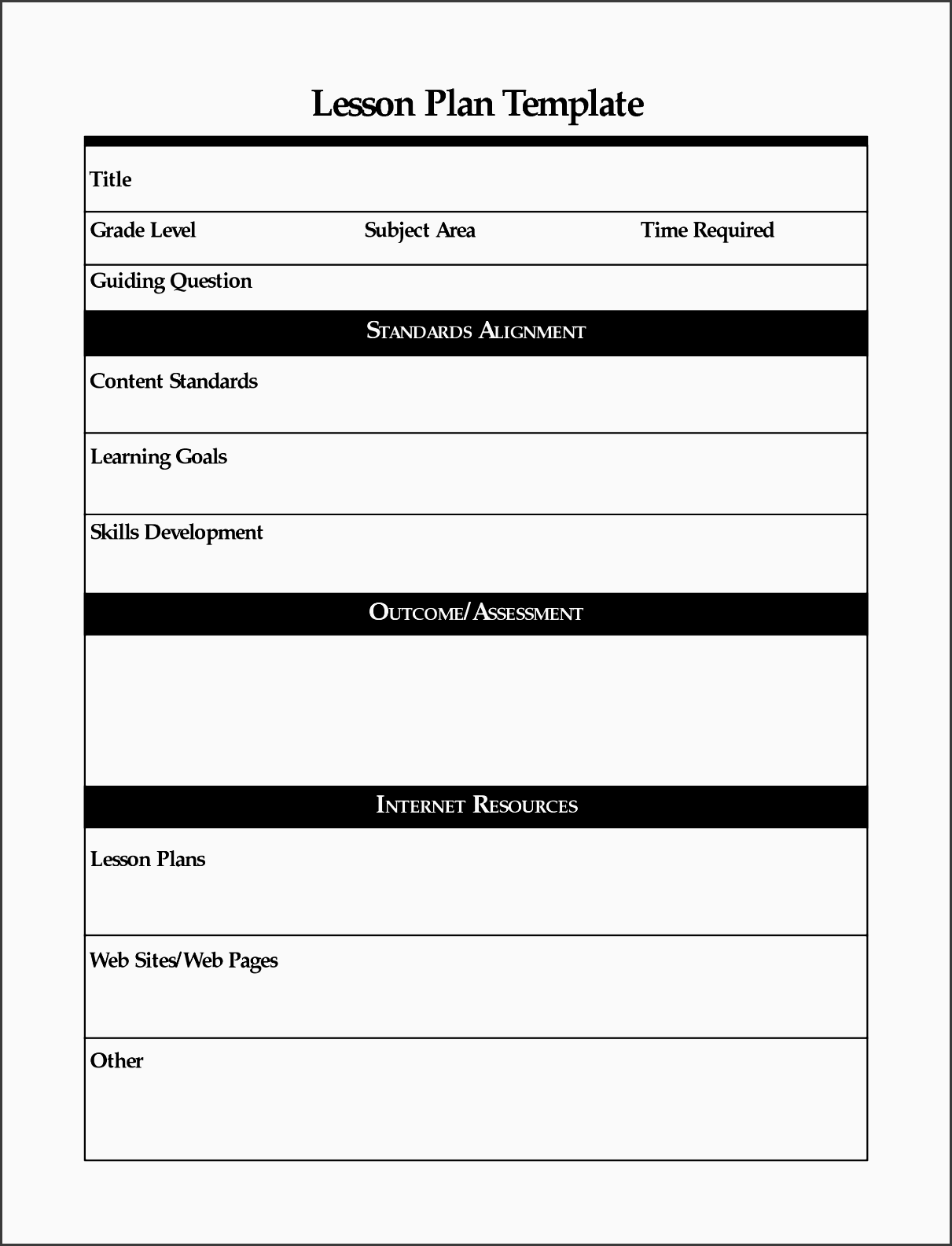 free online lesson plan template 2016 free business template