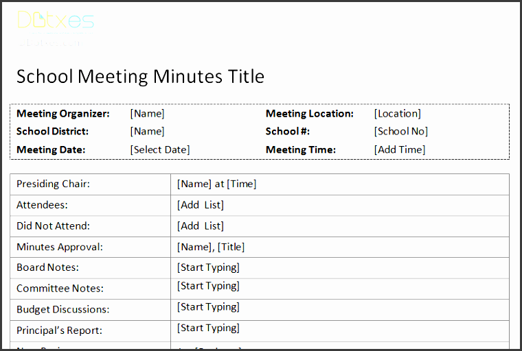 school meeting minutes template