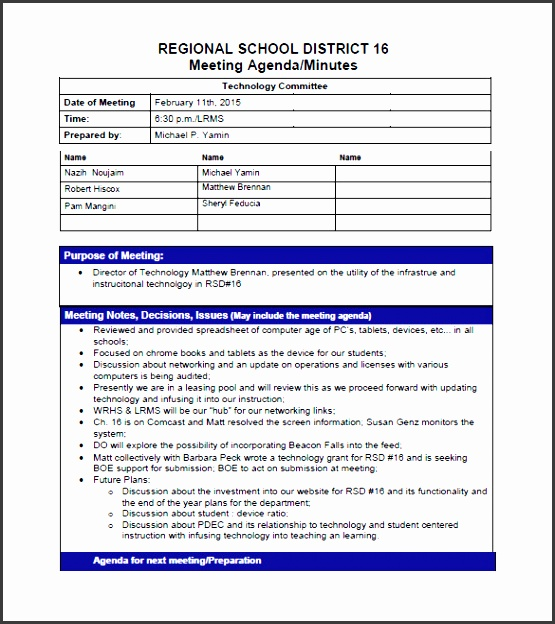 school project meeting minutes template