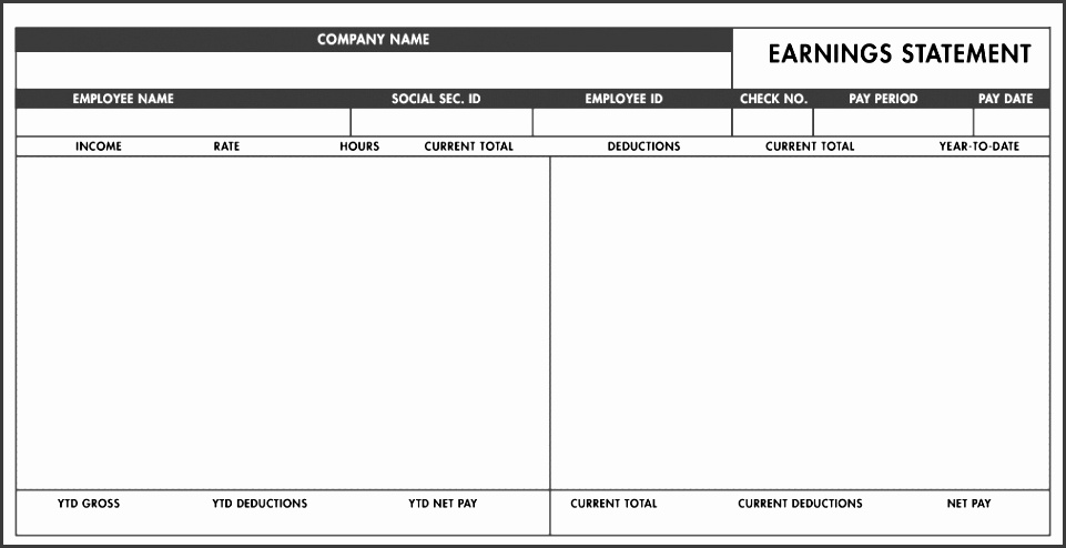 free basic paystub template excel paystub templates blank pay stub template