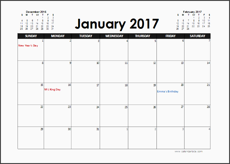2017 excel calendar planner free printable templates