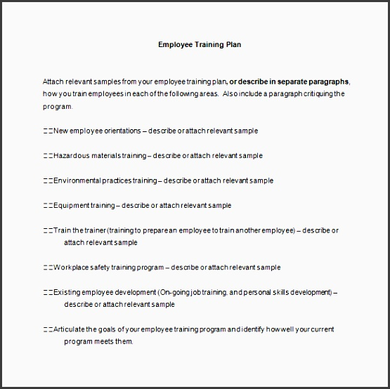 employee training plan word template free