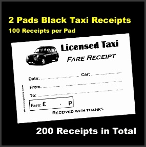 image is loading 2 pads of 100 black taxi cab licensed