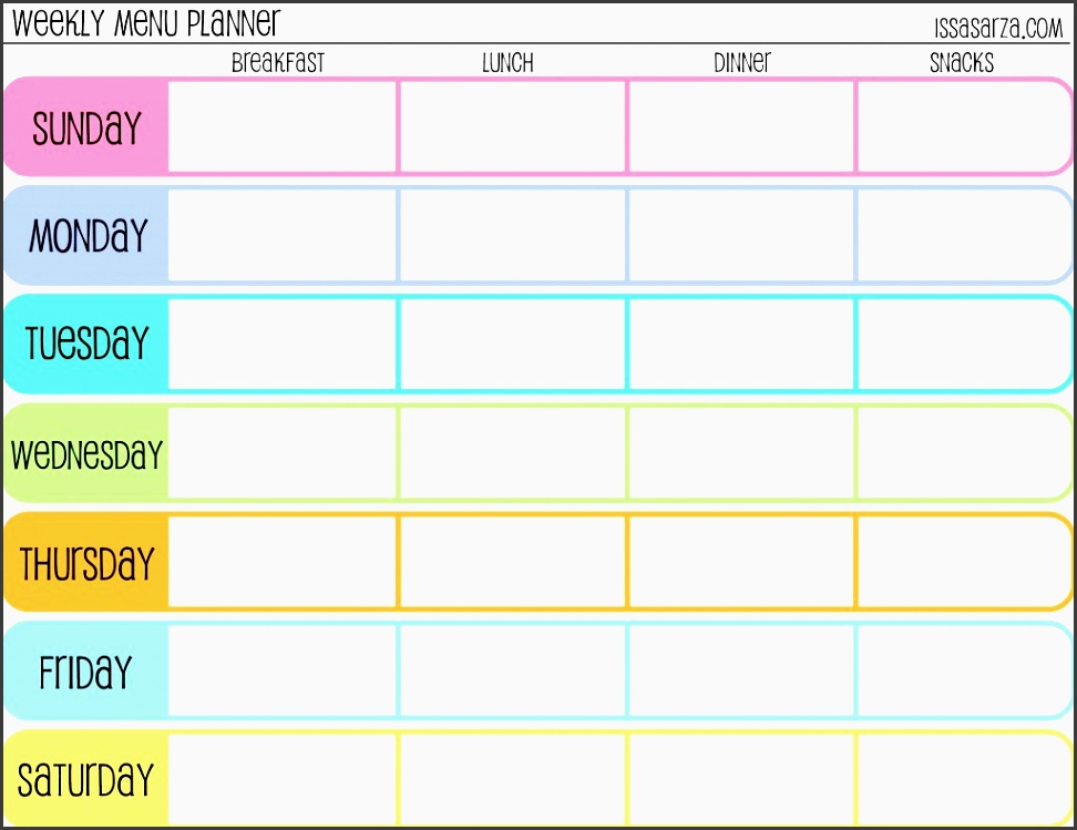 free printable menu planners fill in day of the week format at the bottom