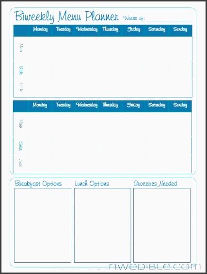 biweekly menu planner free