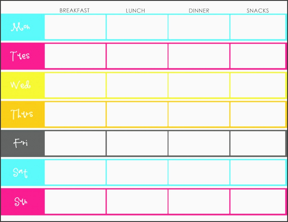 printable weekly menu planner with nice bright colors also could be used as a template