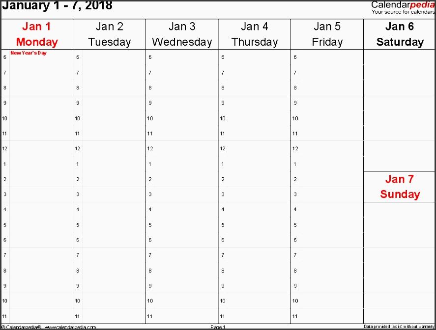 weekly calendar 2018 for word 12 free printable templates regarding free weekly planner template 2018