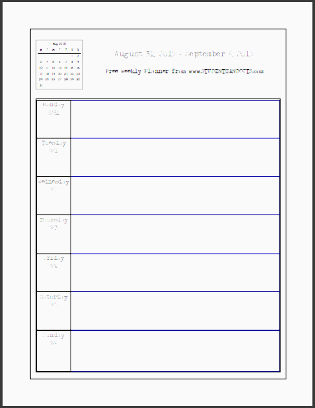 free printable weekly planners pdfs monday starting day for each week 2017