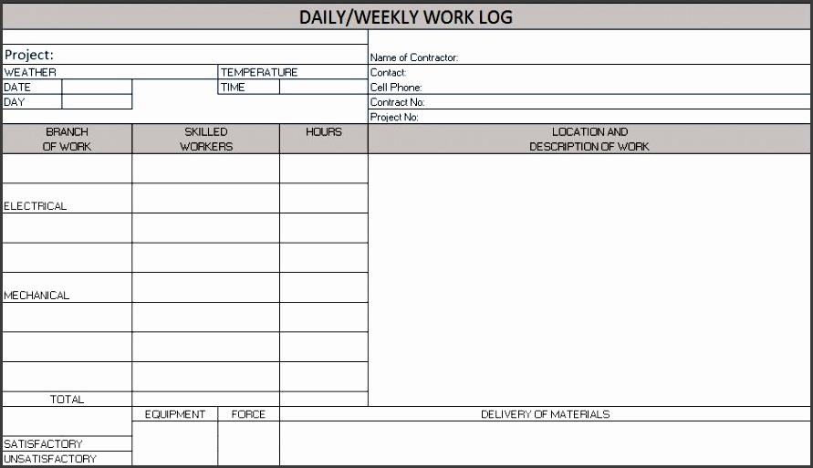 daily weekly work log excel template