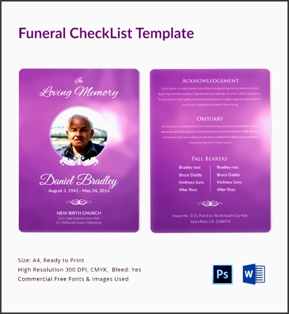printable funeral planning checklist