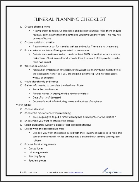 funeral planning checklist page 1