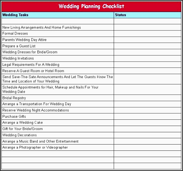 printable wedding planning checklist