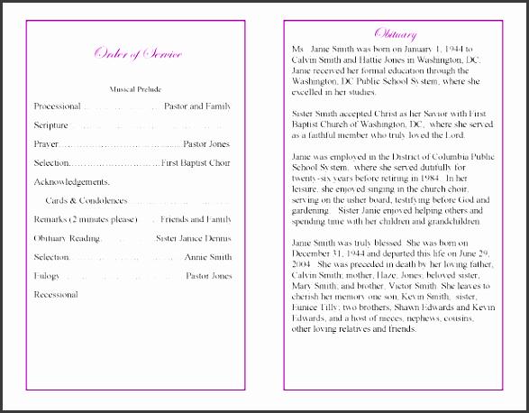 7 funeral program sample itinerary template sample