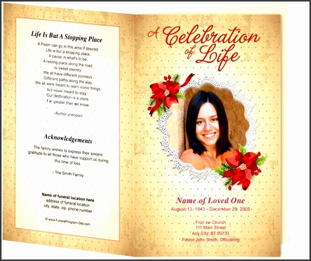floral theme carol preprinted title letter single fold program template perfect for a loved one s