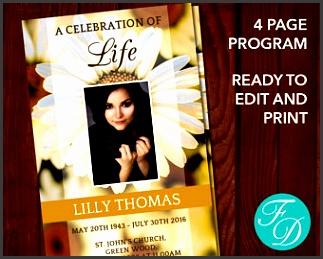 printable funeral program template celebration of life obituary template memorial program funeral