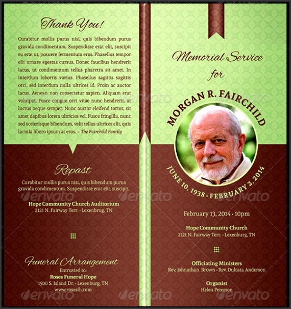 bi fold funeral program template