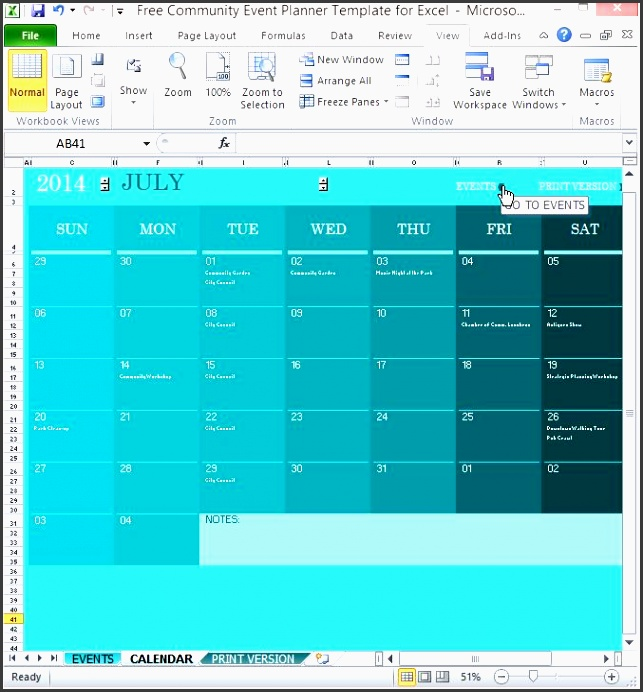 free munity event planner template for excel 2