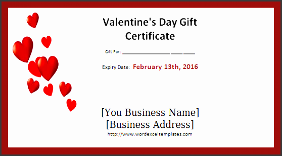 valentines day t certificate