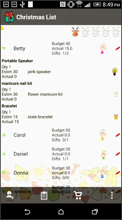 christmas list t planner screenshot