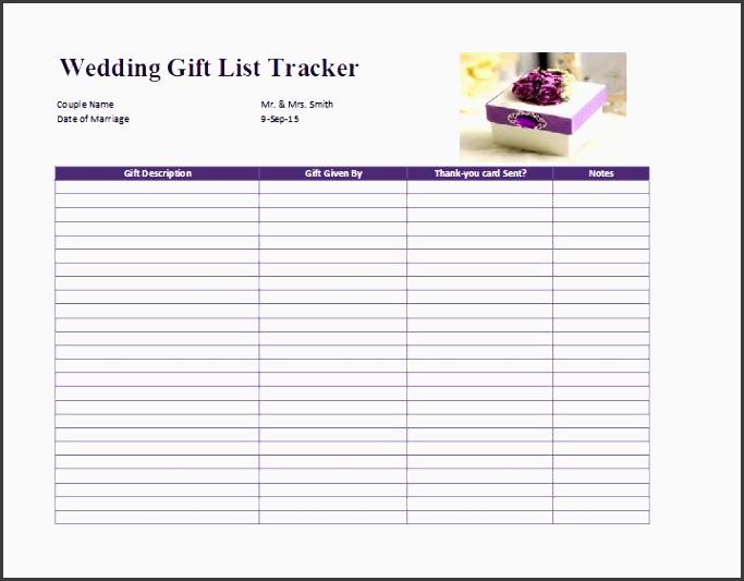 wedding t list template free