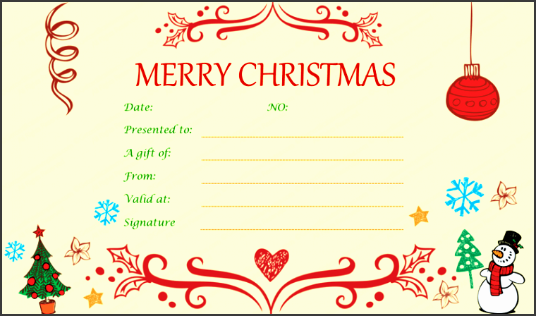 christmas t certificate templates printable editable for word inside christmas certificate template