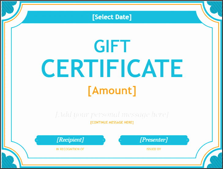 a t certificate template in blue and orange
