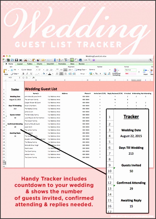 this wedding guest list tracker to keep all your names addresses and rsvp in