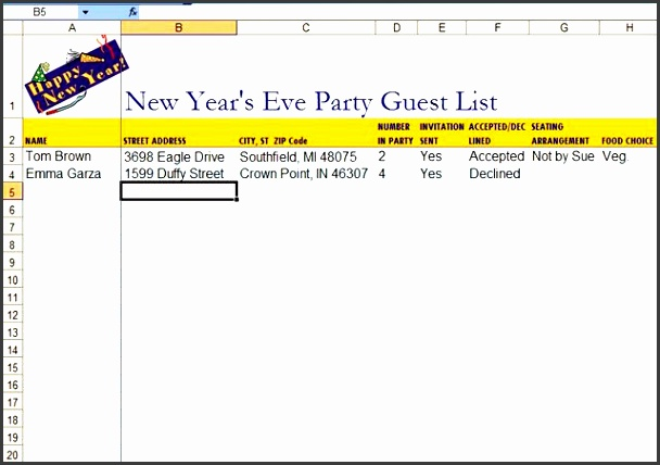 5 graduation party guest list template