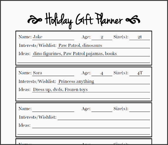 plan your holiday shopping with this convenient free printable keep track of all those size