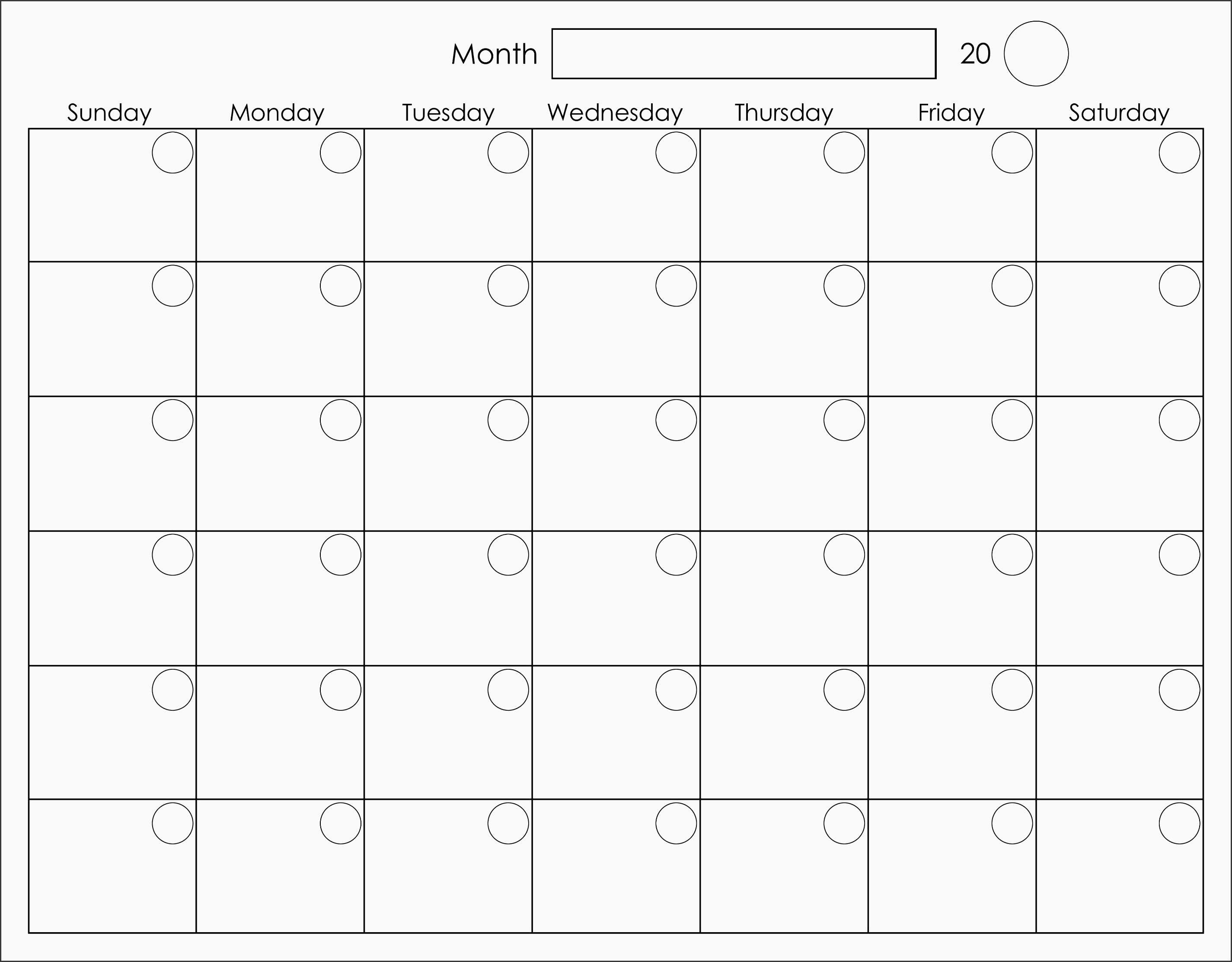 printable blank monthly calendar activity shelter