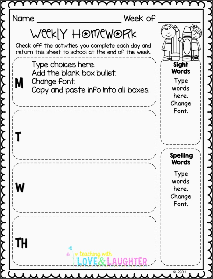 editable weekly homework checklists