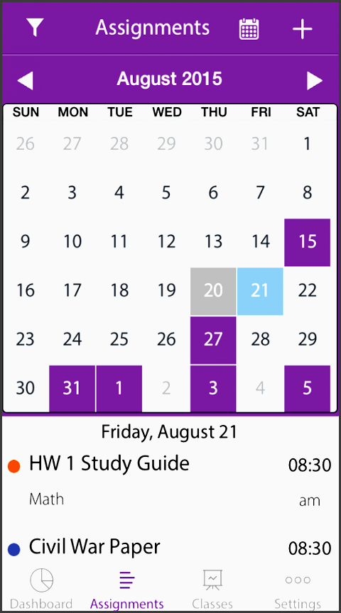 homework suite student planner screenshot