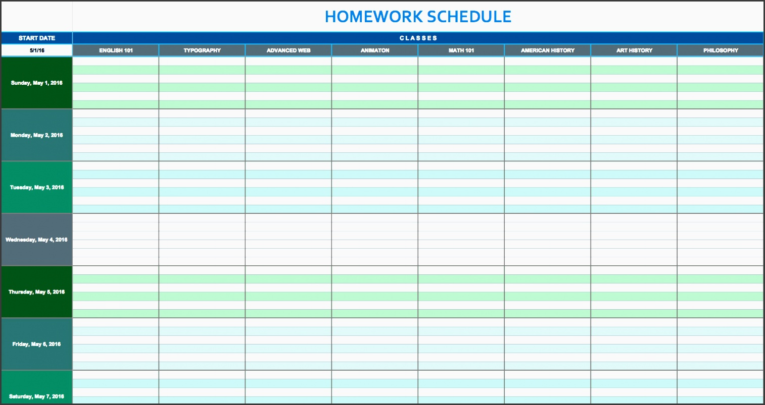 organize your homework assignments and study time for each class with this homework schedule template enter the starting date add your class names