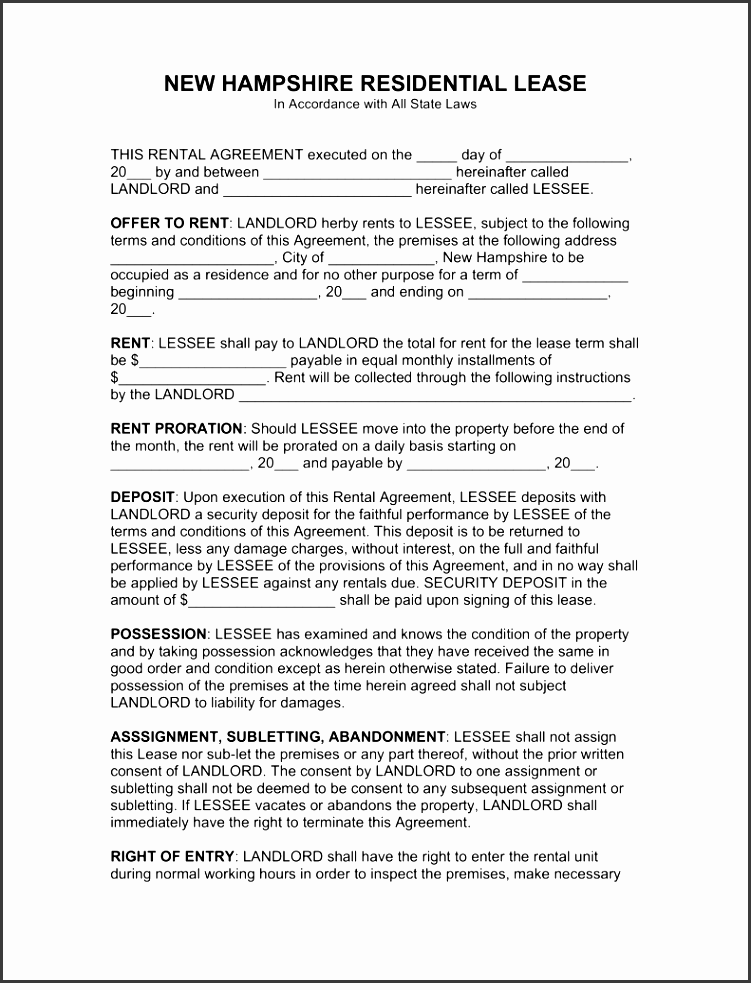 new hampshire standard 1 year residential lease agreement eforms free fillable forms