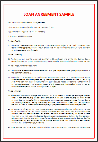 4th loan agreement template