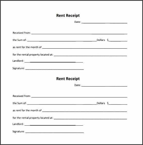 example of rent receipt template