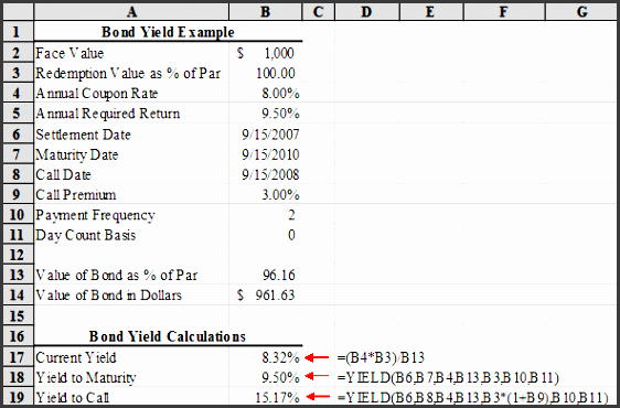 excel spreadsheet for calculating ytc and ytm between coupon payment dates